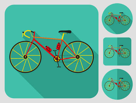 series: Road bike icon. Flat long shadow design. Bicycle icons series.