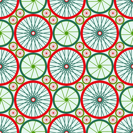 spokes: Seamless pattern with bike wheels. Bicycle wheels with colored rims and spokes. Vector illustration.