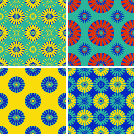 many coloured: Set of seamless patterns with round elements. Vector illustration.