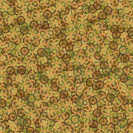 rims: Seamless pattern with bike wheels in khaki camouflage style. Bicycle wheels with colored tire, rims and spokes. Vector illustration.