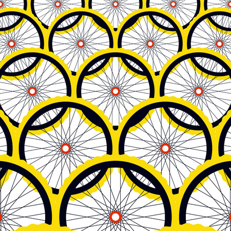 spokes: Background with bike wheels. Bicycle wheels with rims and spokes. Vector illustration.
