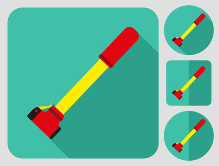 bicycle pump: Pump icon. Bike accessories. Flat long shadow design. Bicycle icons series. Illustration