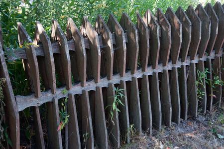 stockade: Old wooden fence in the village, Kiev, Ukraine Stock Photo