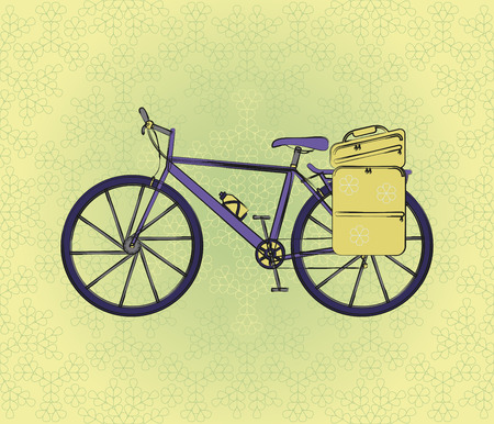 postcard background: Bicycle postcard in retro style with flower background. Vector illustration