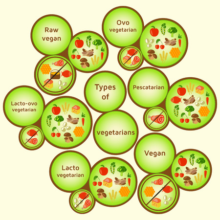 variety: Vegetarian types infographic. Variety diets. Raw vegan, ovo vegetarian, lacto-ovo vegetarian, pescatarian pescetarian, lacto vegetarian, vegan. Vector color illustration Illustration