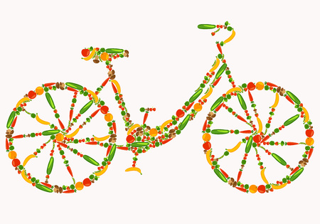 Vegan bicycle. Healthy lifestyle. Beautiful background with fruits, vegetables, berries and mushrooms. Vector color illustration