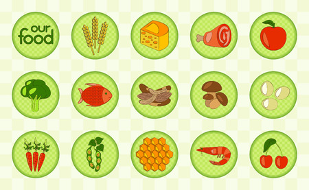 food products: Colorful food set with corn, dairy products, meat, vegetables, seafood, eggs, berry and honey. Checked design. Vector illustration.