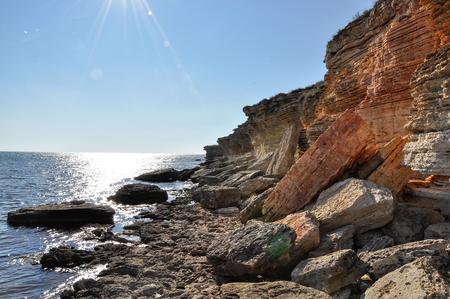rocky coastline: Rocky coastline of Black Sea, Crimea, Ukraine Stock Photo
