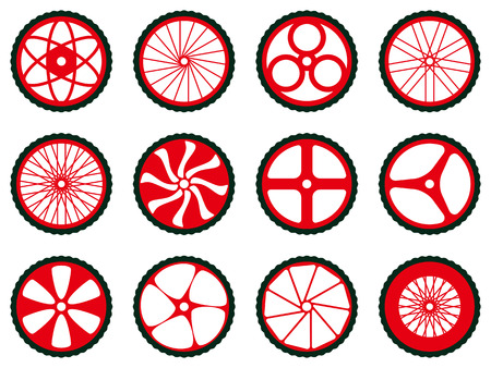 a wheel: Different kinds of bike wheels. Bike wheels with tires and spokes. Bicycle icons series.