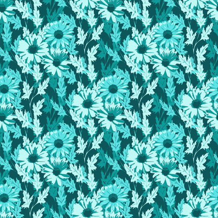 wallpapper: Seamless floral background in turquoise colors. Vector illustration.