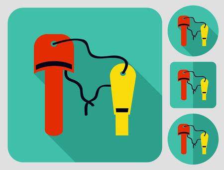 flint: Tourist flint. Flat long shadow design. Hiking icons series.
