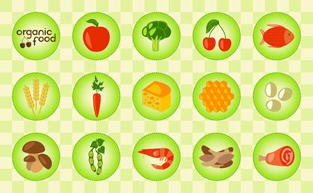 トウモロコシ、乳製品、肉、野菜、魚介類、卵、ベリーや蜂蜜入りカラフルな有機食品。有機食品のロゴ。チェックの背景。ベクトルの図。