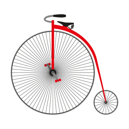 penny: Penny farting bike. Retro bicycle. Vector illustration.