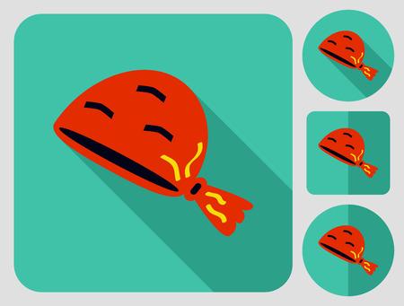 kerchief: Kerchief. Flat long shadow design. Hiking icons series.