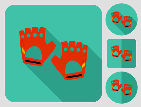 biking glove: Gloves without fingers for cyclist or driver. Bike cloth. Flat long shadow design. Bicycle icons series.