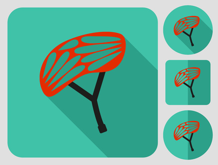 aerodynamics: Helmet for cyclist and other extreme sportsmen. Bike cloth. Flat long shadow design. Bicycle icons series. Illustration