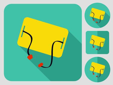 hiking trail: Camping mat. Flat long shadow design. Hiking icons series. Illustration