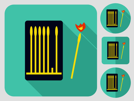 box of matches: Camping equipment. Box with matches. Flat long shadow design. Hiking icons series.