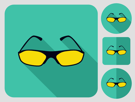 aerodynamics: Sunglasses for cyclist or driver. Bike cloth. Flat long shadow design. Bicycle icons series.
