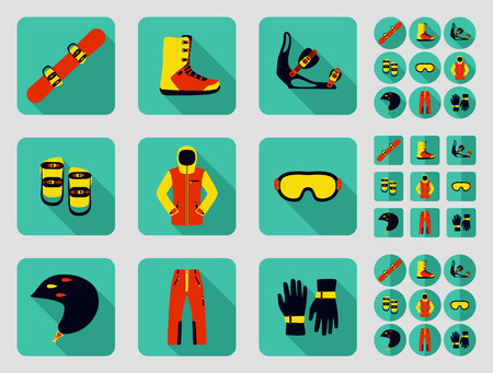 sport clothes: Snowbord and its equipment set. Flat long shadow design. Ski icons series.