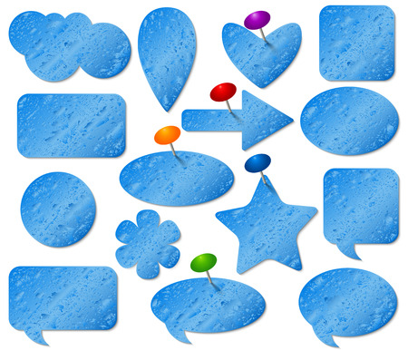 pushpins: Blue stickers set with misted glass effect and colored pushpins.