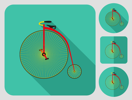 farting: Penny farthing bike icon. Flat long shadow design. Bicycle icons series. Illustration