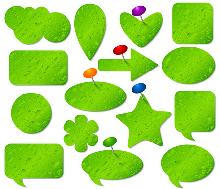 pushpins: Green stickers set with misted glass effect and colored pushpins. Illustration