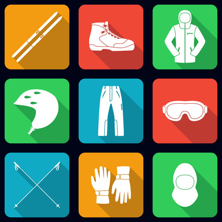 Cross country skies and its equipment set. Flat long shadow design. Ski icons series.