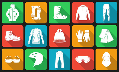 Set of cloth and shoes for winter sport. Flat long shadow design. Ski icons series.