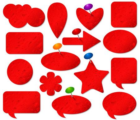 pushpins: Pegatinas rojos fijaron con efecto de cristal empa�ado y chinchetas de colores. Vectores