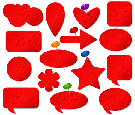 pushpins: Red stickers set with misted glass effect and colored pushpins.