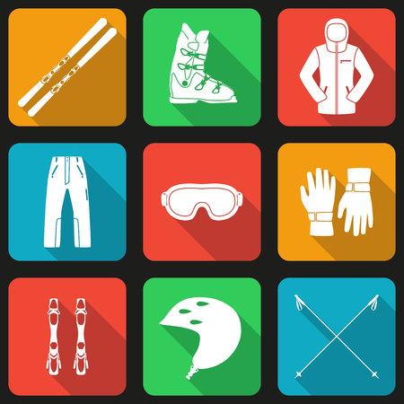 black ski pants: Mountain skies and its equipment set. Flat long shadow design. Ski icons series. Illustration