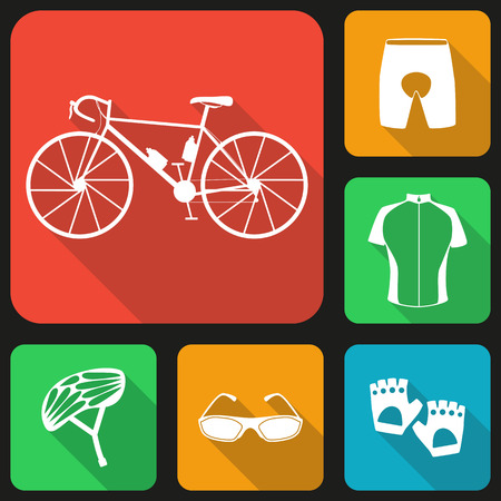 biking glove: Set of flat icons of bicycle uniform. Six bike icons, infographic elements. Flat long shadow design. Bicycle set number three. Illustration