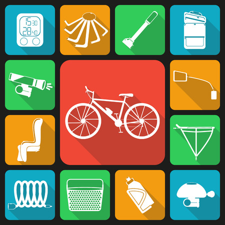 Set of flat icons of bicycle accessories. Thirteen bike icons, infographic elements. Flat long shadow design. Bicycle set number two. Çizim