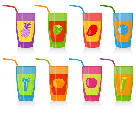 manzana verde: Conjunto de los vidrios de colores con jugo. Bueno para bares frescas, men� de ni�os, caf� vegetariano. Vectores