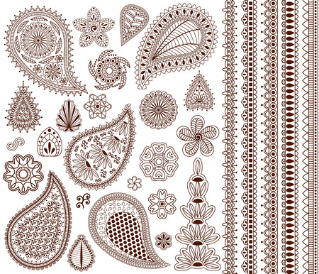 indian pattern: Set of oriental ornaments for henna tattoo and for your design. Plus five seamless borders.