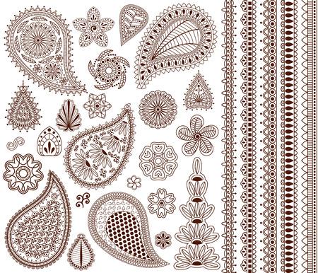 Set van oosterse ornamenten voor henna tattoo en voor uw ontwerp. Plus vijf naadloze grenzen.