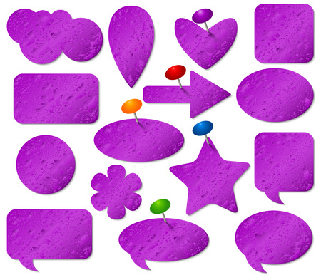 pushpins: Purple stickers set with misted glass effect and colored pushpins.