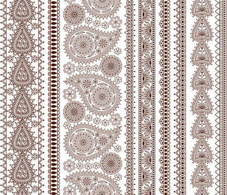dcor: Set of Ornamental Seamless Borders in indian style. Good for dcor, henna tattoo, etc. Illustration