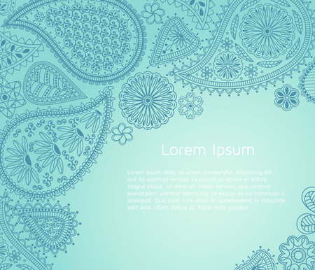 Floral paisley background with indian ormament and place for your text.