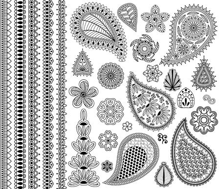 Vector vintage bloemen doodle elementen. Bloemen, payslies en vijf naadloze grenzen.