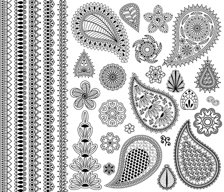 Vector vintage floral doodle elements. Flowers, payslies and five seamless borders. Illustration