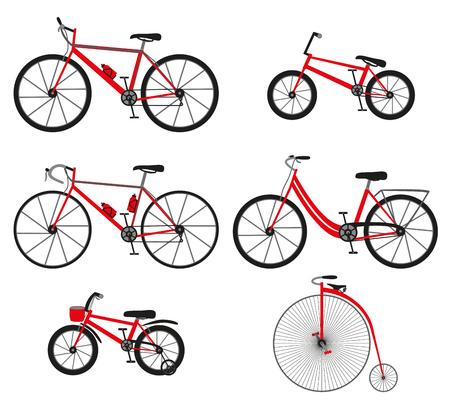 bike vector: Seis tipos de bicicletas: de monta�a o esqu� de fondo de bicicleta, bicicleta de carretera, bicicleta de ciudad, bicicleta bmx, bici ni�os y Penny bicicleta pedos o retro, vintage. Ilustraci�n del vector.