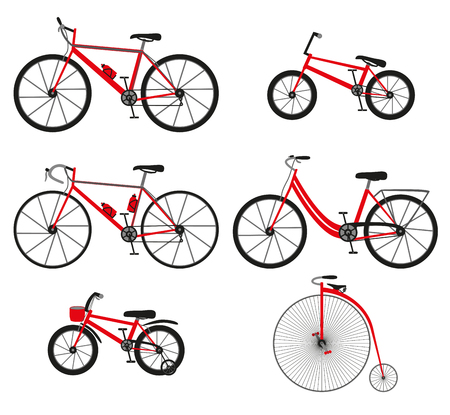 Six kinds of bicycles: mountain or cross-country bike, road bike, city bike, bmx bike, kids bike and Penny farting bike or retro, vintage. Vector illustration.