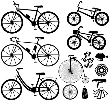 Six kinds of bicycles: mountain or cross-country bike, road bike, city bike, bmx bike, kids bike and penny farting bike or retro, vintage. And some bike accessories. Vector illustration.