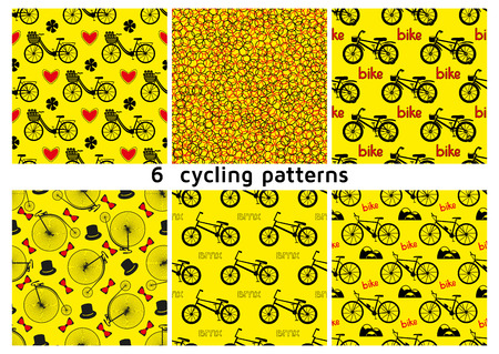 penny: Six seamless bicycle pattern. City bike with hearts and flowers. BMX bike. Mountain bike. Kids bike. Penny farting bike retro with hats and bow ties. Vector illustration