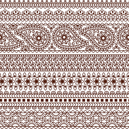 bollywood: Set of Ornamental Seamless Borders in indian style. Good for decor, frames, henna tattoo, etc.