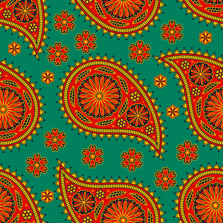 Seamless pattern in Indian style. Ethnic ornament with flowers and paisleys. Ilustração