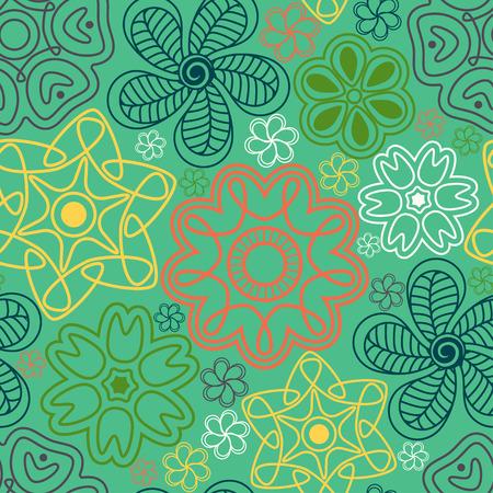인도 스타일에서 원활한 패턴입니다. 꽃과 paisleys 민족 장식입니다.