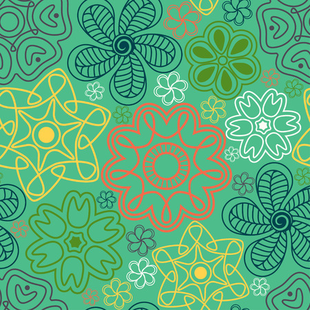 Seamless pattern in Indian style. Ethnic ornament with flowers and paisleys. Illustration
